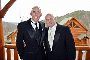 Jay and Keith suited up, at a cabin before the wedding