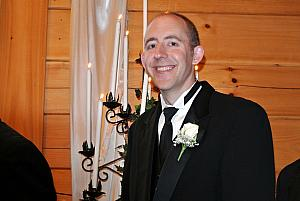 Jay smiling during the wedding