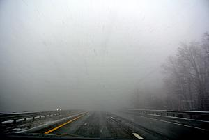 Driving back home - we drove through a nasty snowstorm -- very foggy here