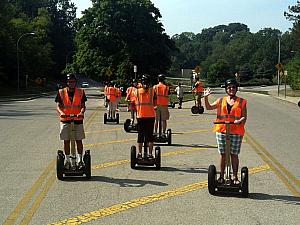 Segway practice in the parking lot