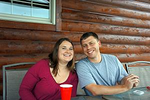 Relaxing at our rented cabin in Hocking Hills: Allison and Brian