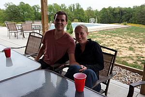 Relaxing at our rented cabin in Hocking Hills: Adam and Katie