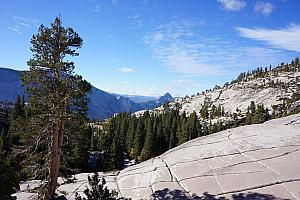 Our first day of hiking was in High Country, where we drove from our 4000 foot elevation campsite to the 8600 foot elevation Tuolumne Meadows. Along the way, we stopped at this view point.