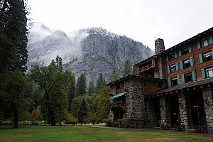 On to day two. We didn't hike during day two, because it rained all day. So, we drove around the valley and visited the fancy Ahwahnee Hotel and a few museums. Here's the courtyard and a mountain view out the back door of the hotel.