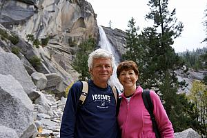 Dad and Mom Klocke in front of Vernal Fall