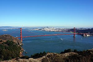 Golden Gate Bridge as seen from Hawk Hill, the apex of the Golden Gate National Recreation Area