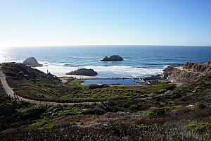 We were thrilled to discover Land's End Park and the Sutro Bath remains. We hiked our way down the hill to make it to the beach.