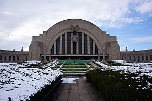 Union Terminal in the snow