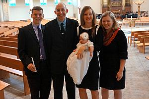 The baptismal family (is that the correct terminology?) Godfather Kevin and Godmother Jenny with Mom Dad and Capri