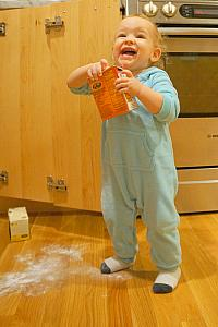 Making a mess with baking powder