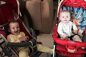 Capri and Kenley playing in their strollers