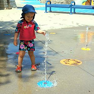 Playing at the water station