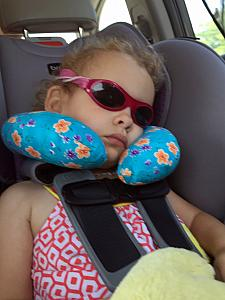 Capri slept like an angel for the entire 2+ hour drive to Harrodsburg! Thanks Aunt Gloria for the toddler travel pillow.