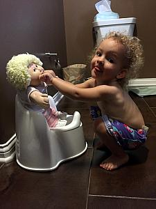 Potty training the, erm, doll. Still working on the live human...