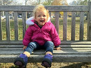 Capri resting on a park bench :)