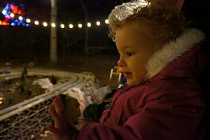 North Carolina Arboretum Winter Lights - Capri enjoying the toy trains