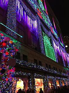 NYC - great Christmas lights + music show on the building facade.