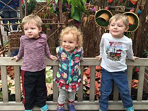Benny, Capri and Cooper again - visiting the train displays at Krohn Conservatory.