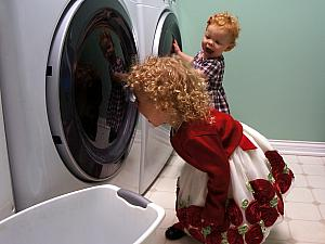 For some reason, the washer and dryer were great sources of entertainment!