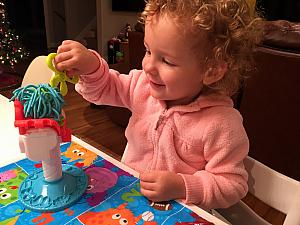 Playing with the play-doh hair kit