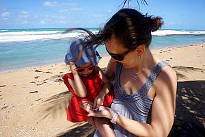 Capri and Mommy finding some seashells
