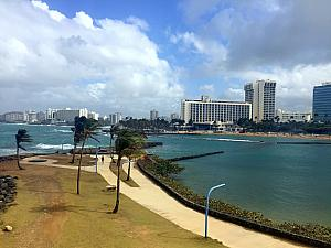 Looking back at our hotel - the Hilton Caribe - from across the bay.