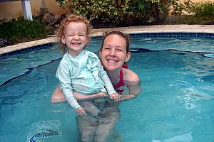 Capri and Kelly in a cooling-off hot tub. Much more fun than the ice cold pools.