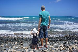 Dad and Capri checking out the rocky beach