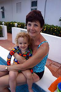 Capri and Mimi at the pool.