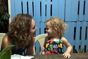 Mom and Capri at dinner