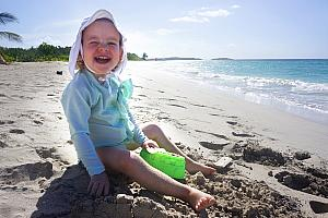 Friday, March 17:  last day of the trip :(. But, we're back at the beach and Capri is happy about it!